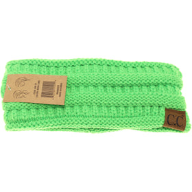 CC Beanie | Adult Solid Ribbed Head Wrap ~ Neon Lime
