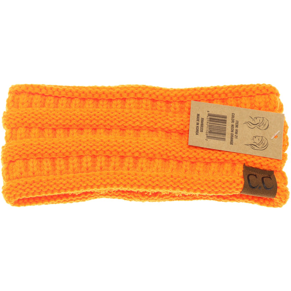 CC Beanie | Adult Solid Ribbed Head Wrap ~ Neon Orange