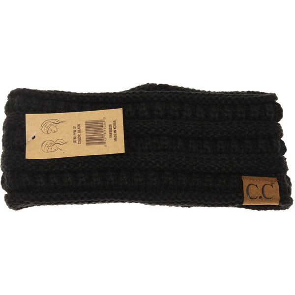 CC Beanie | Adult Solid Ribbed Head Wrap ~ Black