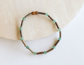 CanyonLeaf - Aventurine + Hazelwood Children's Necklace