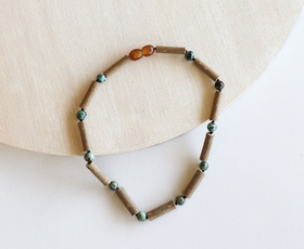 CanyonLeaf - Turquoise Jasper + Hazelwood Children's Necklace