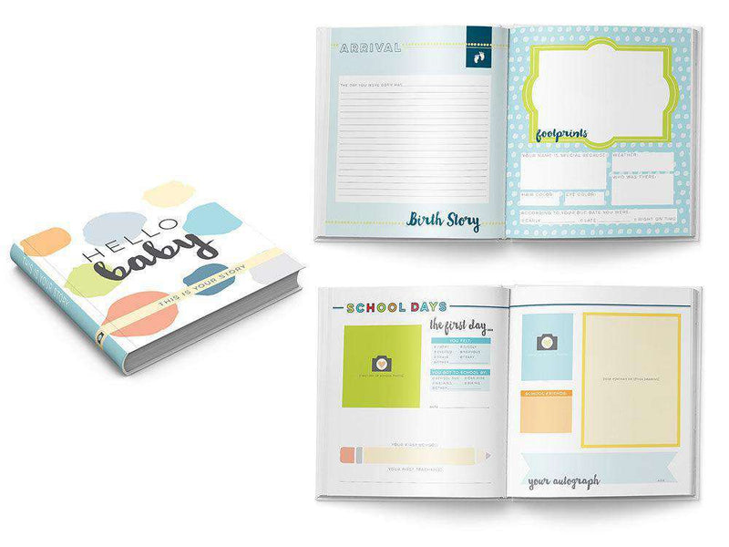 Sticky Bellies | Hello Baby Keepsake Book | Neutral | Aqua, Blue and Lime Green