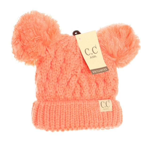 CC Beanie | Kids Solid Double Pom ~ Coral