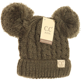 CC Beanie | Kids Solid Double Pom ~ New Olive