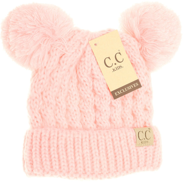 CC Beanie | Kids Solid Double Pom ~ Pale Pink