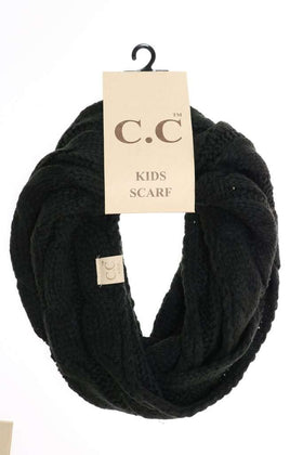 CC Beanie | Kids Solid Cable Knit Infinity Scarf ~ Black