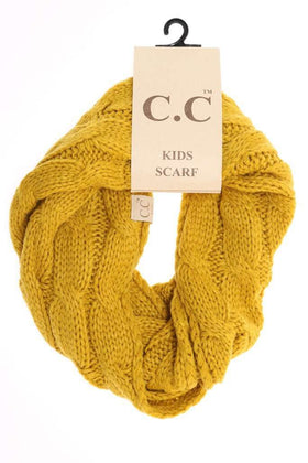 CC Beanie | Kids Solid Cable Knit Infinity Scarf ~ Mustard