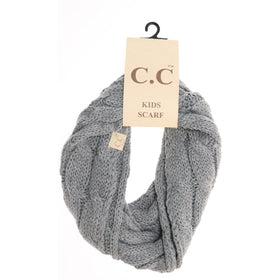 CC Beanie | Kids Solid Cable Knit Infinity Scarf ~ Light Gray