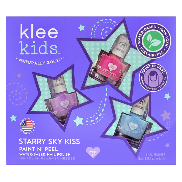 Klee Naturals Starry Sky Kiss - KLEE KIDS WATER-BASED NAIL POLISH 3-PIECE SET