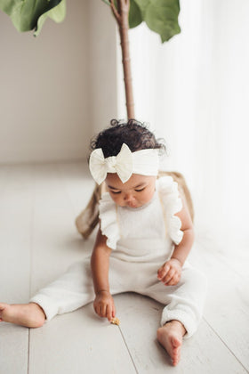 Baby Bling Bows | Classic Knot Headband ~ Ivory