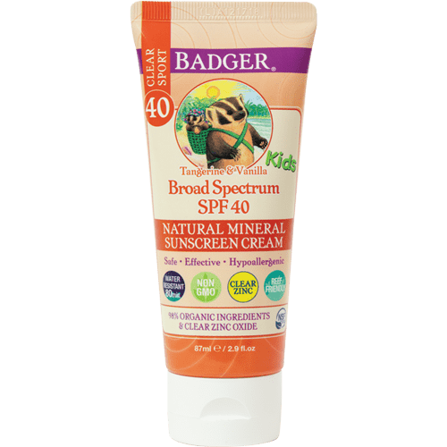 Badger Healthy Body Care ~ Kids Sport Sunscreen Clear Zinc SPF 40 (Tangerine & Vanilla)