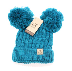 CC Beanie | Kids Solid Double Pom ~ Teal