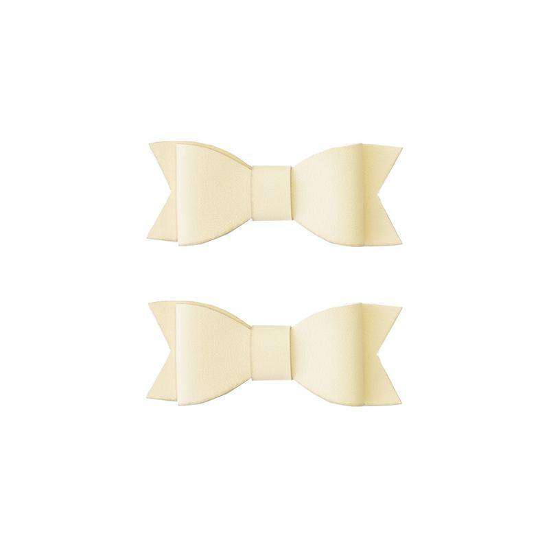 Baby Bling Bows |  Leather Bow Tie Clips 2pk ~ Ivory