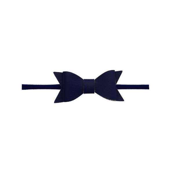 Baby Bling Bows |  Leather Bow Tie Skinny Headband ~ Navy