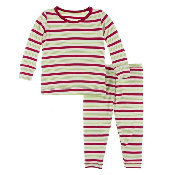 Kickee Pants Print Long Sleeve Pajama Set | 2020 Candy Cane Stripe