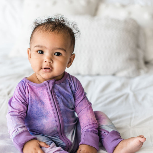 Little Sleepies - Purple Watercolor  - Convertible Romper/Sleeper