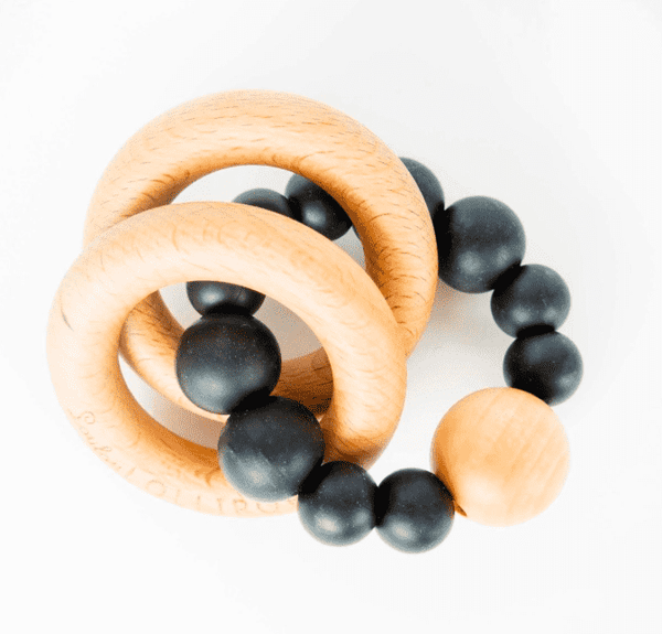 Loulou Lollipop | RATTLE Bubble Silicone Wood Teether ~ Black