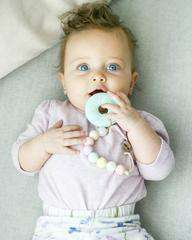 Loulou Lollipop | BLUE DONUT SILICONE TEETHER WITH HOLDER - COTTON CANDY