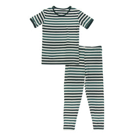 Kickee Pants Print Short Sleeve Pajama Set | Wildlife Stripe