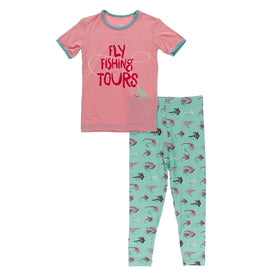 Kickee Pants Print Short Sleeve Pajama Set | Glass Fishing Flies
