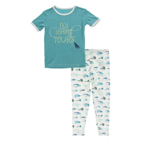Kickee Pants Print Short Sleeve Pajama Set | Natural Fishing Flies