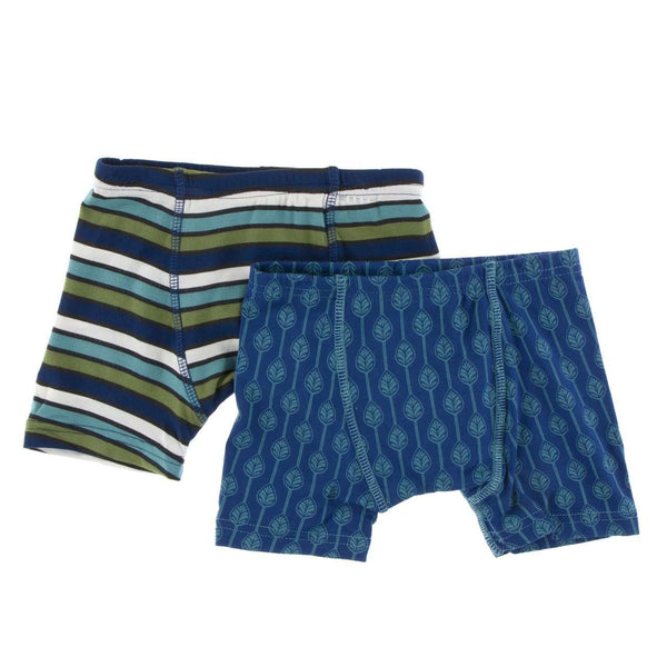 Kickee Pants Boy's Boxer Briefs (Set of 2) | Botany Grasshopper Stripe and Navy
