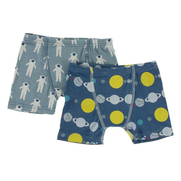 Kickee Pants Boy's Boxer Briefs (Set of 2) | Dusty Sky Astronaut & Twilight Planets