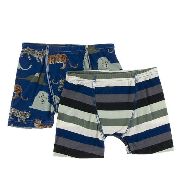 Kickee Pants Boy's Boxer Briefs (Set of 2) | Flag Blue Big Cats and Zoology Stripe