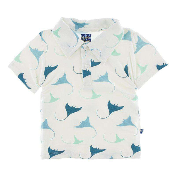 Kickee Pants Print Short Sleeve Polo | Natural Manta Ray