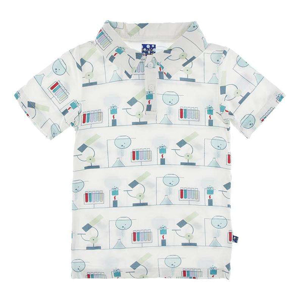 Kickee Pants Print Short Sleeve Polo | Natural Chemistry Lab
