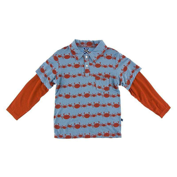 Kickee Pants Print Long Sleeve Double Layer Polo | Blue Moon Crab Family