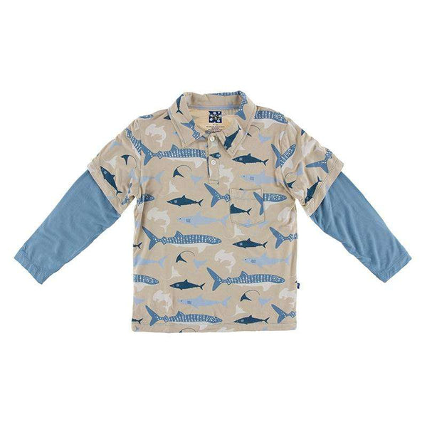 Kickee Pants Print Long Sleeve Double Layer Polo | Burlap Shark
