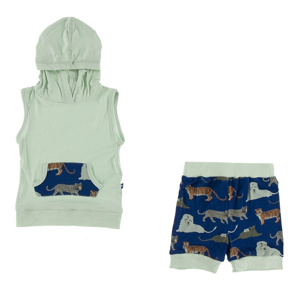 Kickee Pants | Print Short Sleeve Hoodie Tank Outfit ~ Flag Blue Big Cats