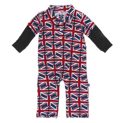 Kickee Pants London Collection Print Long Sleeve Double Layer Polo Romper | Union Jack