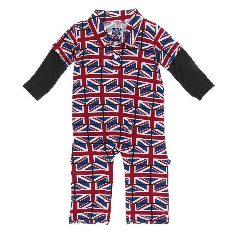 Kickee Pants London Collection Print Long Sleeve Double Layer Polo Romper | Union Jack *final sale*