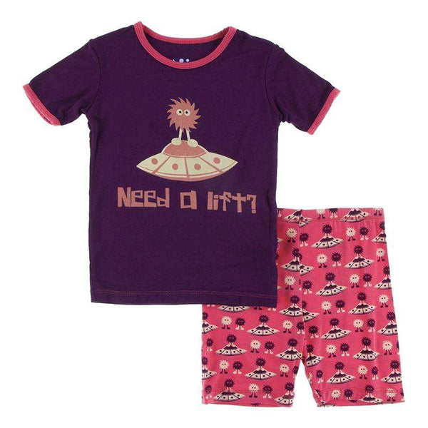 Kickee Pants Short Sleeve Piece Print Pajama Set with Shorts ~ Red Ginger Aliens with Flying Saucers