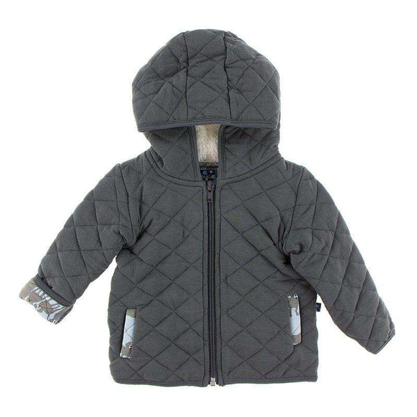 Kickee Pants London Collection | Print Quilted Jacket with Sherpa-Lined Hood in Stone with London Dogs Trim