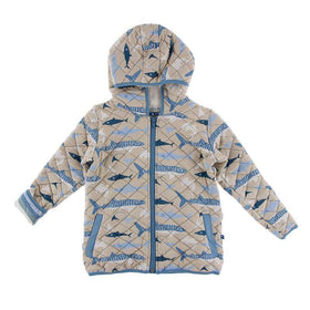 Kickee Pants Print Quilted Jacket with Sherpa-Lined Hood | Burlap Sharks/Oceanography Stripe