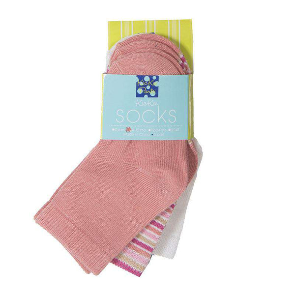 Kickee Pants Sock Set | Natural, Girl Forest Stripe, & Blush