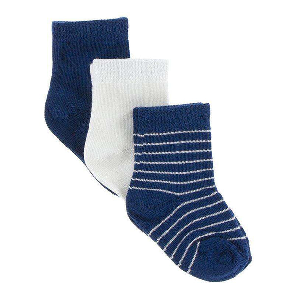Kickee Pants Sock Set | Navy, Natural & Tokyo Navy Stripe