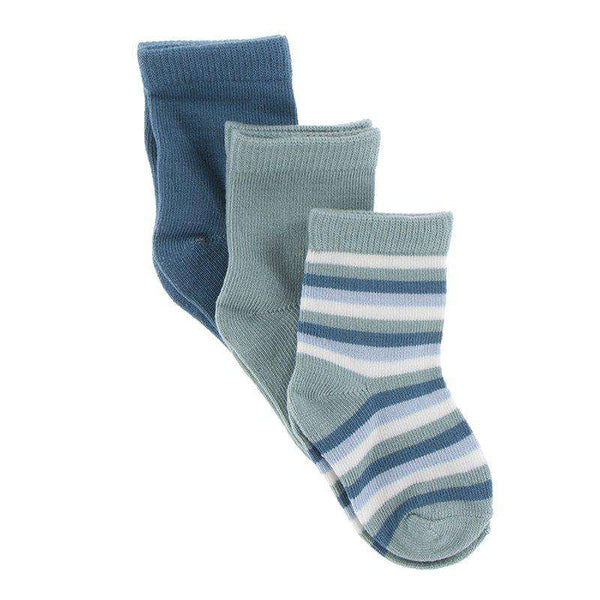 Kickee Pants Sock Set | Blue Moon, Jade & Oceanography Stripe