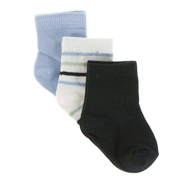 Kickee Pants Sock Set | Spring Sky, Tuscan Afternoon Stripe and Zebra
