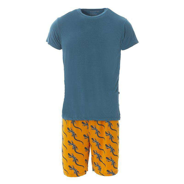 Kickee Pants | Men's Short Sleeve Pajama Set With Short ~ Apricot Bead Lizard