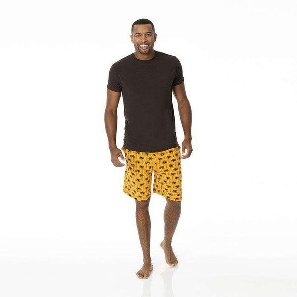 Kickee Pants | Men's Short Sleeve Pajama Set With Short ~ Apricot Palm Trees