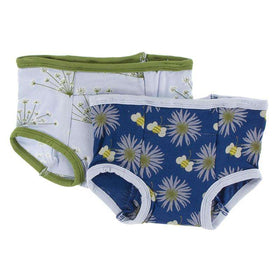 Kickee Pants Training Pants Set |  Dew Dill and Navy Cornflower and Bee