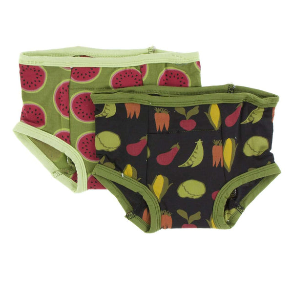Kickee Pants Training Pants Set | Grasshopper Watermelon and Zebra Garden Veggies