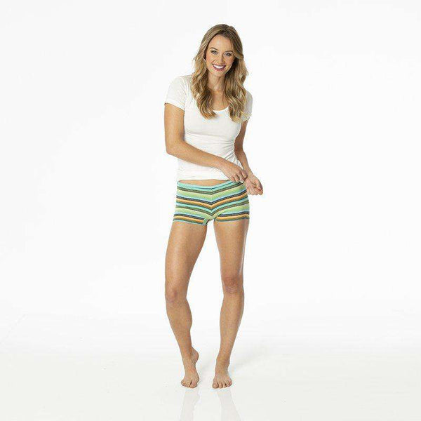 Kickee Pants Women's Underwear Boyshort | Cancun Glass Stripe