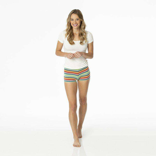 Kickee Pants Women's Underwear Boyshort | Cancun Strawberry Stripe