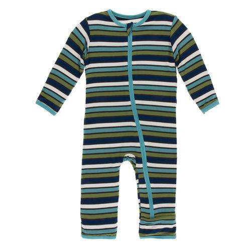 Kickee Pant Print Coverall with Zipper | Botany Grasshopper Stripe