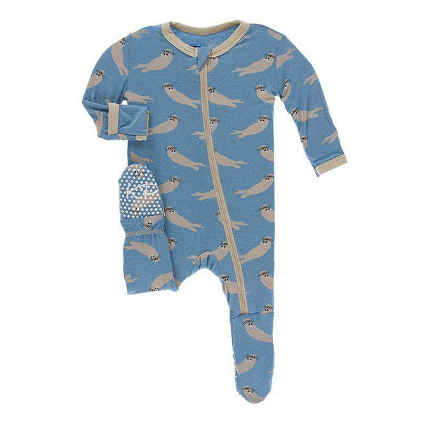 Kickee Pants Print Footie with Zipper | Blue Moon Sea Otter